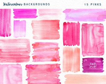 Watercolor Backgrounds - Hand Painted - Pinks
