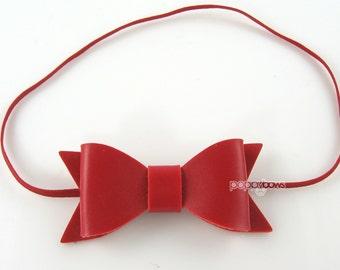 Newborn Headband - red baby headband - faux leather small headband - infant headband - baby headband, leather bow christmas baby headband