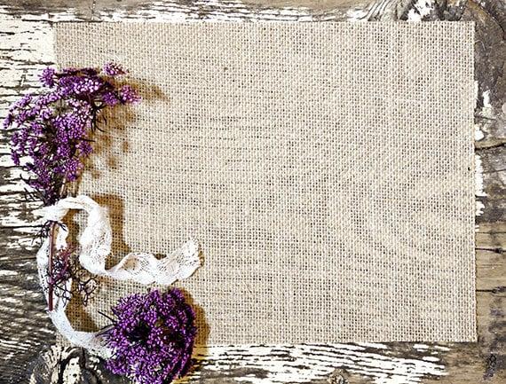 Rustic Burlap Purple Floral Photoshop Mock Up Blog Design
