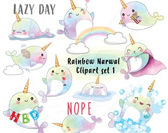 Rainbow Narwhal clipart set 1 instant download PNG file - 300 dpi