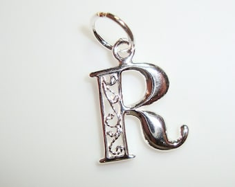 925 Sterling Silver Alphabets Filigree Design Pendants - you choose