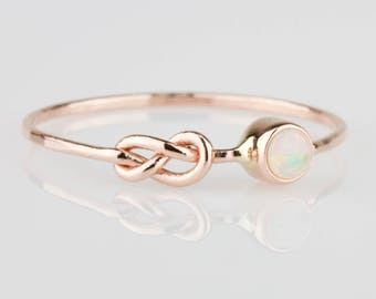 Opal Infinity Knot Ring - Delicate October Birthstone Infinity Knot Stack Ring in Solid 14k Rose or White or Yellow Gold