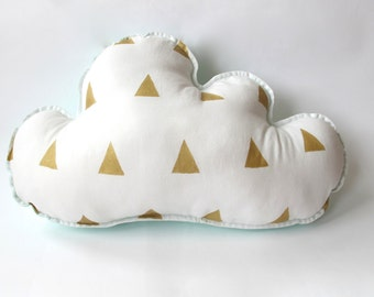 Cloud Pillow - Nursery Decor - Triangles in Gold - Mint Backing - Other Colors Available