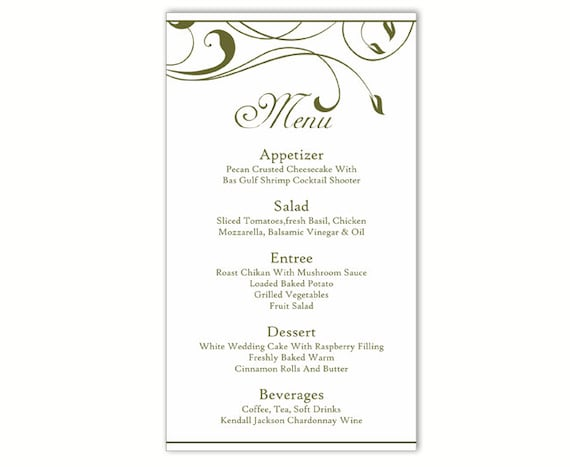 Massif image inside free printable wedding menu template