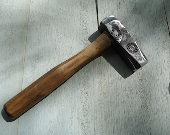 Small Blacksmith's Hammer, Hand-Forged 4140 Steel, Repurposed Wood, Made to Order