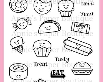 Food Planner Stamps for your Filofax, Bullet Journal, Erin Condren, Happy - Kawaii Meal Planning, Cupcake Taco Candy Donut Pizza Popcorn