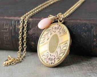 Gold Oval Locket, Rose Gold Photo Locket Necklace, Push Present, October Birthstone Locket Gift for Her, Pink Opal Locket, Large Gold Locket