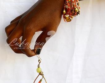 Orange Masai beaded jewelry,Orange African jewelry set,Orange Masai beaded bracelet