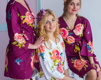 Premium Plum Bridesmaids Robes - Smiling Blooms Pattern - Soft Rayon Fabric - Better Design - Perfect getting ready robes