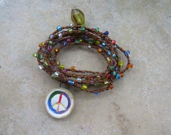 Peace Sign Essential Oils Diffuser Wrap Bracelet, Boho Beaded Wrap Bracelet, EO Diffuser Beaded Necklace, Glass Beaded Jewelry
