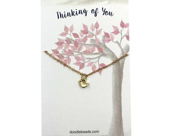 Tiny Bird Necklace- small Gold or Silver bird necklace carded Thinking of You, endearment gift, missing you, long distance friendship,