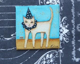 Cat with hat original painting magnet