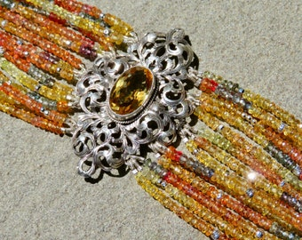 Peruzzi Style Jewelry, Sapphire Jewelry, Repurposed Peruzzi Style Brooch, Repurposed Brooch, Multi Strand Gemstone Jewelry, SapphireBracelet