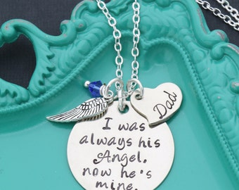 Dad Memorial Gift • I Was Always His Angel Father Loss Gift • Condolence Gift Dad Remembrance Gift Personalize Memorial Necklace