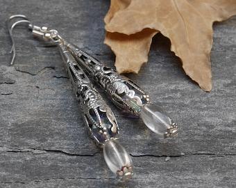 Long dangle earrings, victorian earrings, gothic earrings, gift idea for woman, everyday earrings