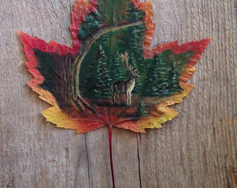 Our Forests | Leaf Painting | Woodland | Leaf Art | Elk | Tree | Canada | Ontario | Canadian Art
