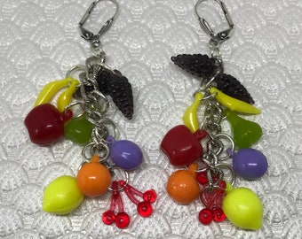 Three inch Fruit Drop Earrings made from vintage style colorful hard plastic Carmen Miranda style from the 1940's.
