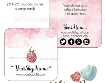 "Raspberry Business Cards, 2.5 X 2.5"" Social Business Cards, double sided print - FREE SHIPPING - rounded or square corners"