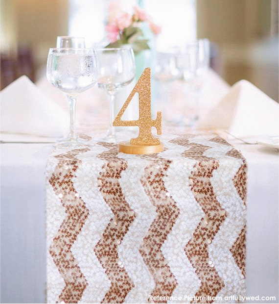 Well-known Chevron Rose Gold and White Sequin Table Runner READY TO SHIP. DC62