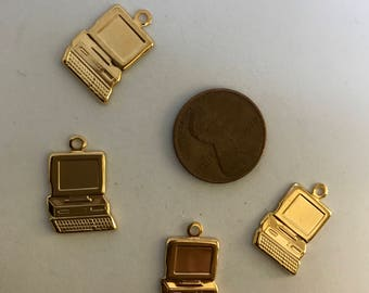 50% Off Brass, stamped computer charms 10 pieces