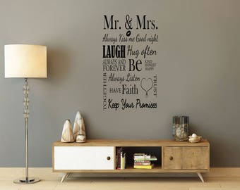 Mr and Mrs, love, laugh, marriage,  Wall Art Vinyl Decal Sticker