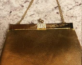 Vintage Gold Metallic Evening Bag Purse