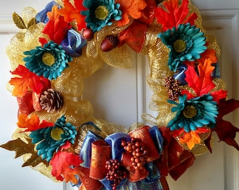 """14"""" Blue and Gold Fall Wreath"""