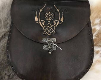 Celtic Thistle Leather Sporran