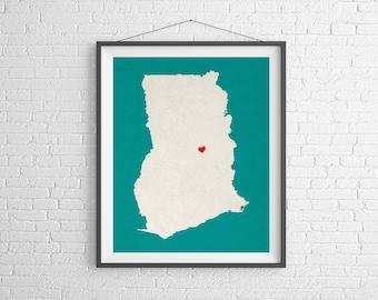 Custom Ghana Silhouette Print, Customized Country Map Art, Personalized Gift, Ghana Art, Heart Map, Ghana Map, Love Map, Home Country