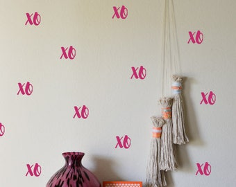 50 Xo Stickers, Hugs And Kisses Wall Decal, Invitation Seals, Xo Decal, Nursey Wall Decal, Xo Girls Room Decoration, Removable Wallpaper