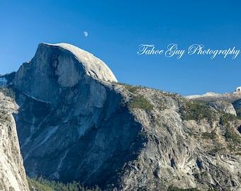 Photograph: Half Dome and moon - Yosemite (5600 x 3700)