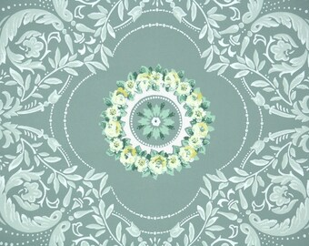 1940s Vintage Wallpaper by the Yard - Yellow Roses in a Circle on Green