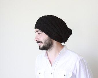 Slouchy beanie men   Black winter mens hat Handmade
