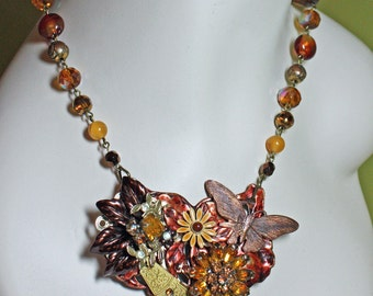 Steampunk Necklace. Butterfly OOAK Necklace. Statement Necklace
