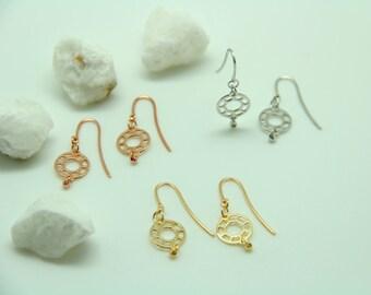 Silver earrings little earrings gold pink gold hook gold earrings small earrings round made in Italy