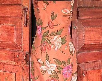 Vintage 1960s MERCER & MADISON silk summer spaghetti strap dress
