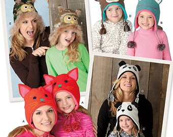 Misses and Childs Hats Sewing Pattern Simplicity 1953 UNCUT Owl Hat, Cat Hat, Panda Hat, Monkey Hat, Frog Hat