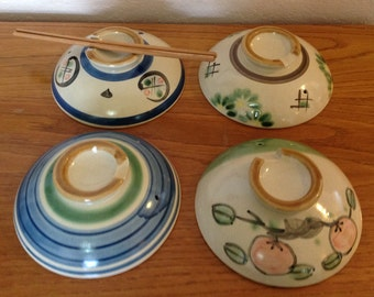 Set of Four~ Vintage~Traditional~JAPANESE RICE BOWL~Pottery~Stoneware Lids~Awesome