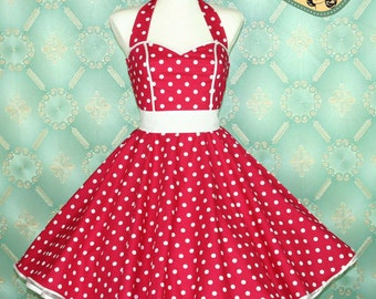 50's vintage dress full skirt hot pink white polka dots dress rare Tailor Made after your measurements