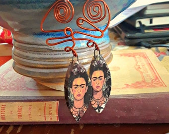 Frida - Handmade ceramic and recycled copper earrings