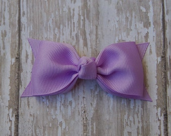 Lavender Tuxedo Style Toddler Hair Bow 3 Inch Alligator Clip Baby Hairbow