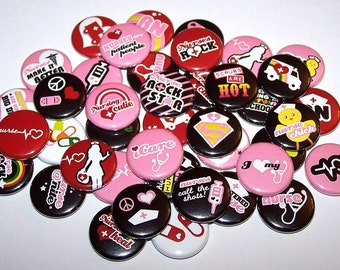 """Nursing Cutie Set of 10 Buttons 1"""" or 1.5"""" Pinback Buttons or 1"""" Magnets Nurse RN Pins"""