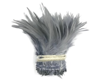 Strung Feather, 1 Yard - Silver Gray Strung Chinese Rooster Saddle Wholesale Feathers (bulk) : 4014