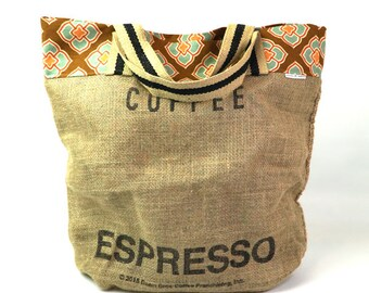Burlap Coffee Sack Espresso | Farmer's Market Tote | Reusable Grocery Bag | The Art of Coffee Totebag | Brown Orange Geometric Lining