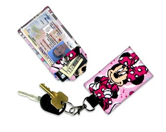 Disney Minnie Mouse Ears in Pink Hearts Mini Wallet Card Holder Keychain Clear ID Holder Small Wallet Student ID Badge Credit Card Keychain