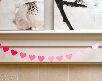 Ombre Heart Banner - 3 Feet Long - Pink, Purple, Blue or Green Ombre - For Weddings, Showers, Home Decor