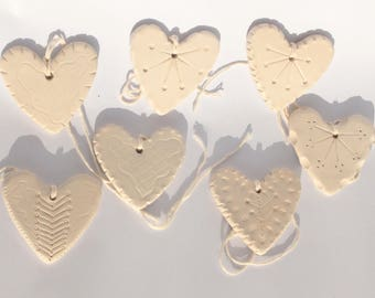 Decorations, Valentine's day gift - white ceramic hearts