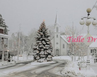 Snowy New England Glittery Christmas Card Stationary (set of 10)