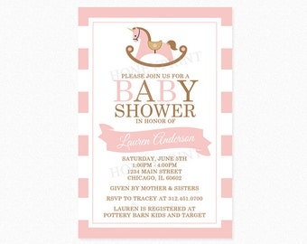 Rocking Horse Baby Shower Invitation, Pink and Brown, Baby Shower Invitation, Stripes, Personalized, Printable Invitation