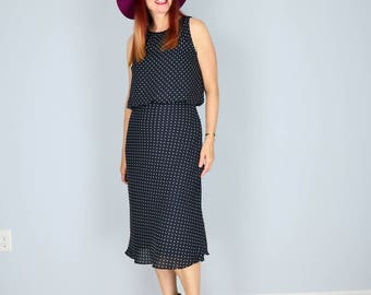 1990s Dress - Polka Dot Midi Dress - Black White - Sleeveless - Flirty A-line Flutter Skirt - Summer Spring - Feminine - Size Medium Large